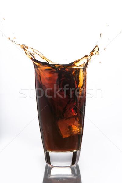 Cubo de hielo caer vidrio sosa blanco hielo Foto stock © wavebreak_media