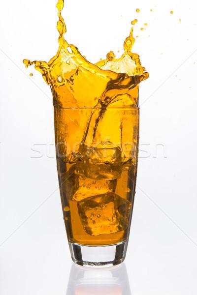 キューブ 下がり ガラス オレンジ 液体 白 ストックフォト © wavebreak_media
