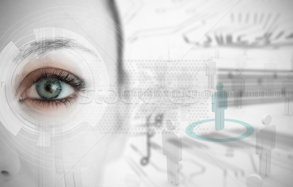 Frau Auge futuristisch Schnittstelle Stock foto © wavebreak_media