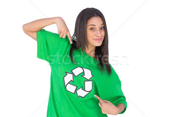 Activist wijzend symbool tshirt glimlachend witte Stockfoto © wavebreak_media