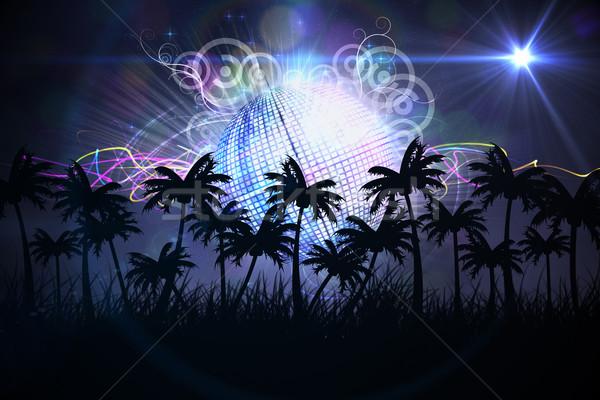 Stockfoto: Digitaal · gegenereerde · palmboom · disco · ball · partij · digitale