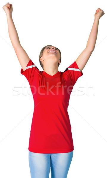 Futbol fan kırmızı beyaz futbol Stok fotoğraf © wavebreak_media