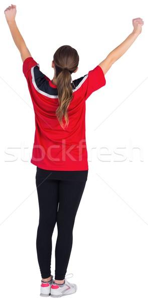 Сток-фото: возбужденный · футбола · вентилятор · красный · белый