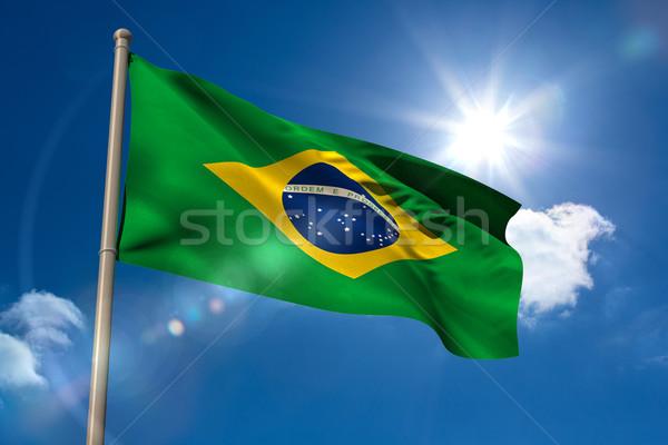 Бразилия флаг флагшток Blue Sky солнце свет Сток-фото © wavebreak_media
