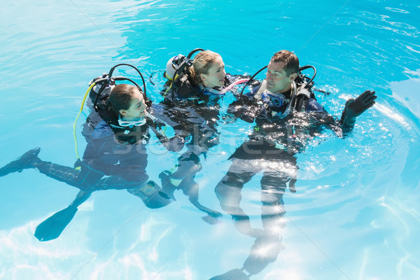 Smiling friends on scuba training in swimming pool Stock photo © wavebreak_media