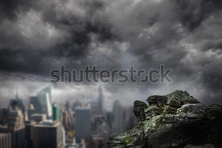 Large rock overlooking big city Stock photo © wavebreak_media