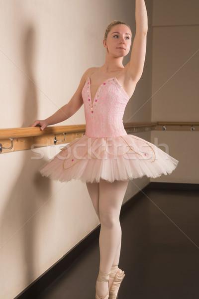 Stok fotoğraf: Güzel · balerin · ayakta · dans · stüdyo