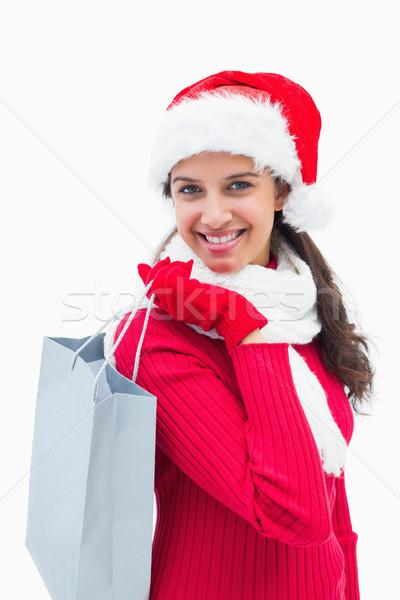 Piękna kobieta torbę na zakupy biały Zdjęcia stock © wavebreak_media