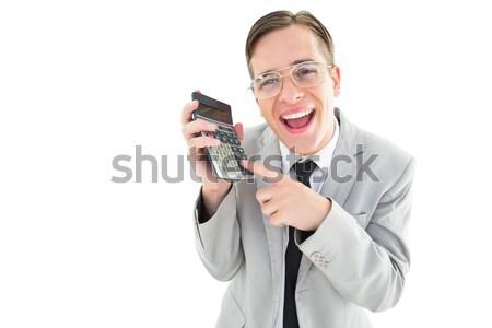 бизнесмен калькулятор белый счастливым Сток-фото © wavebreak_media