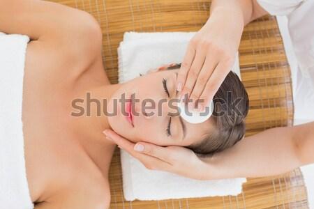Hand schoonmaken gezicht katoen spa centrum Stockfoto © wavebreak_media