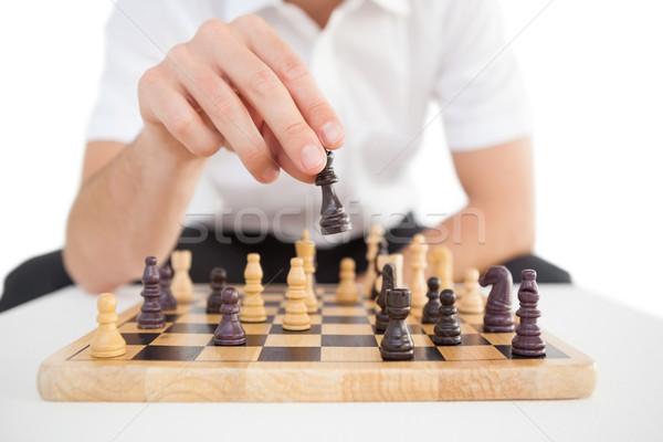 Foto stock: Centrado · empresario · jugando · ajedrez · negocios · masculina