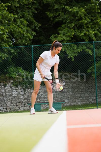 Stock fotó: Csinos · teniszező · kész · napos · idő · sport · fitnessz