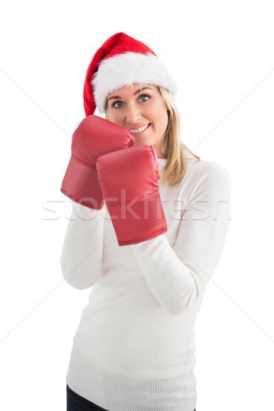 Feestelijk blond bokshandschoenen witte vrouw gelukkig Stockfoto © wavebreak_media