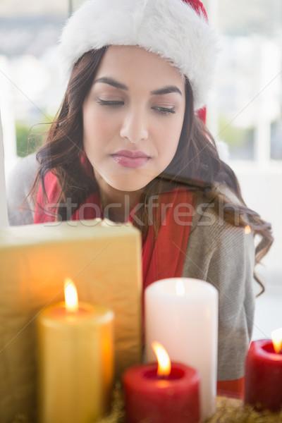 портрет брюнетка за свечей домой Сток-фото © wavebreak_media