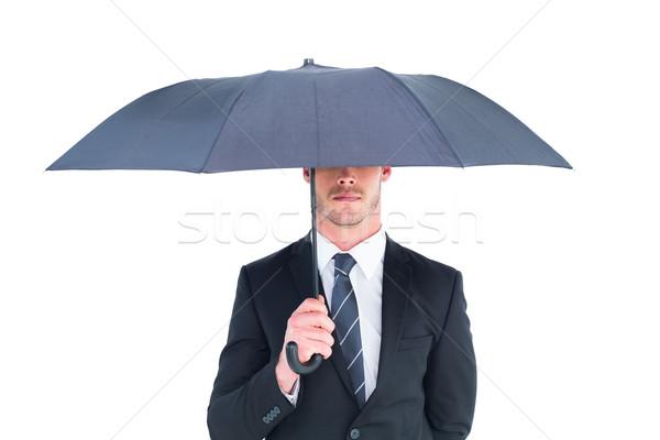 бизнесмен зонтик белый корпоративного профессиональных мужчины Сток-фото © wavebreak_media