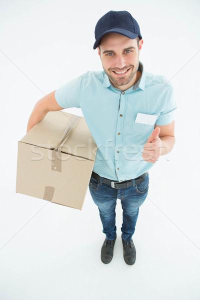Stock foto: Karton · gestikulieren · Porträt · glücklich