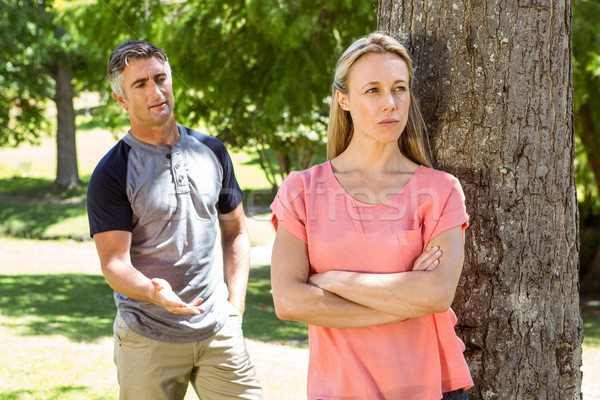 Couple argument parc femme arbre Photo stock © wavebreak_media