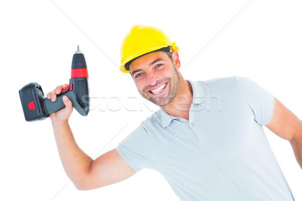 Uśmiechnięty moc wiercenia portret Zdjęcia stock © wavebreak_media