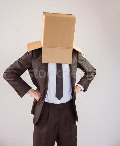 Anonim üzletember kezek csípők szürke doboz Stock fotó © wavebreak_media