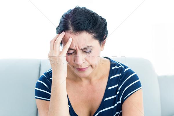 Femme migraine blanche santé triste canapé Photo stock © wavebreak_media