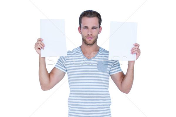 серьезный красивый мужчина документы белый лице Сток-фото © wavebreak_media