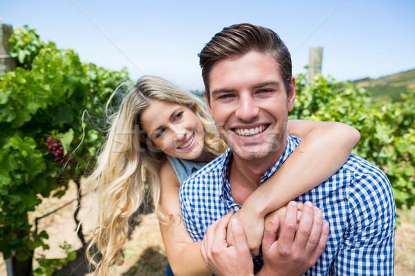 Vrolijk paar wijngaard vrouw Stockfoto © wavebreak_media