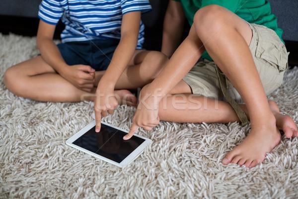 Testvérek digitális tabletta nappali otthon gyermek Stock fotó © wavebreak_media