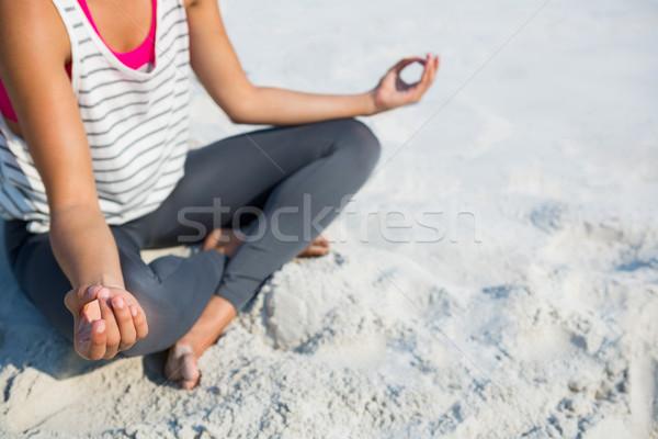 Düşük bölüm kadın meditasyon kum plaj Stok fotoğraf © wavebreak_media