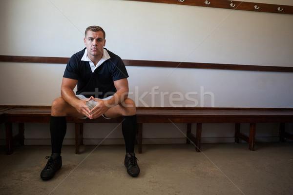 портрет регби игрок сидят скамейке стены Сток-фото © wavebreak_media
