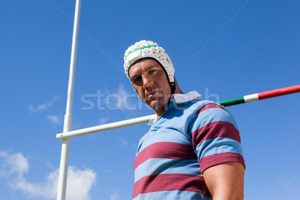 Portré rögbi játékos visel fehér sisak Stock fotó © wavebreak_media