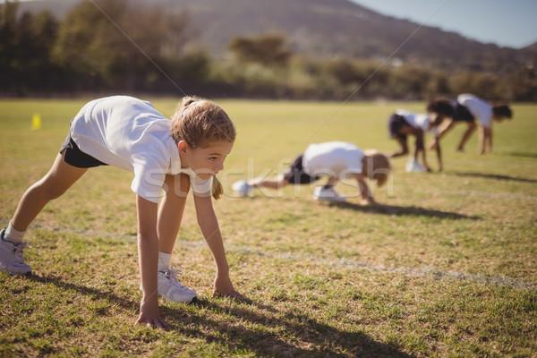 Studentesse pronto posizione concorrenza parco bambino Foto d'archivio © wavebreak_media