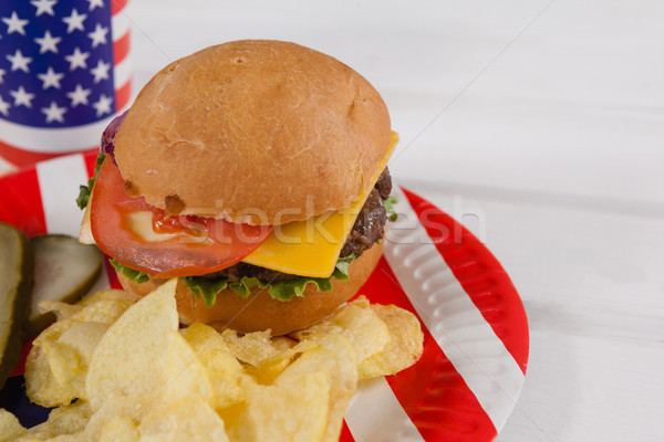Snacks in plate decorated with 4th july theme Stock photo © wavebreak_media