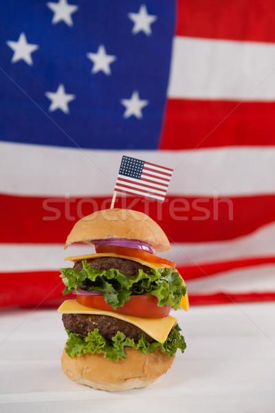 Hamburger bandiera americana tavola blu bandiera Foto d'archivio © wavebreak_media