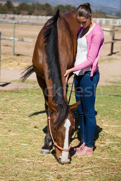 Full length of woman standing by horse Stock photo © wavebreak_media