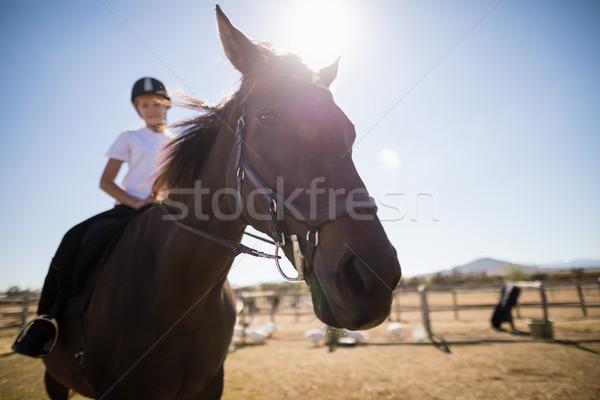 девушки верховая езда лошади ранчо счастливым Сток-фото © wavebreak_media