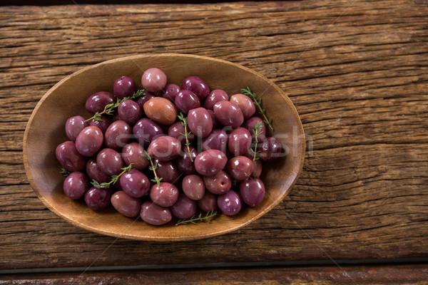 Gemarineerd olijven houten kom tabel voedsel Stockfoto © wavebreak_media