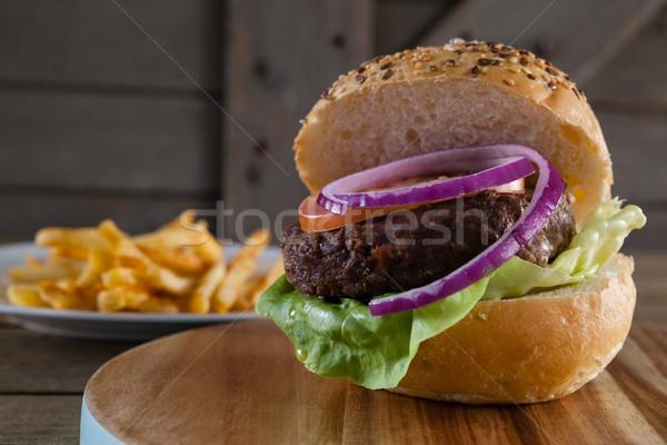 Hamburger gıda ahşap sandviç Stok fotoğraf © wavebreak_media
