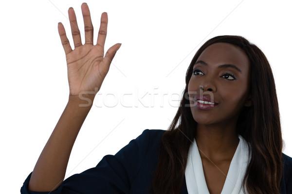 Stockfoto: Zakenvrouw · aanraken · interface · scherm · witte