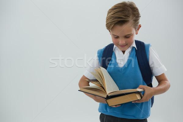 школьник чтение книга белый внимательный человека Сток-фото © wavebreak_media