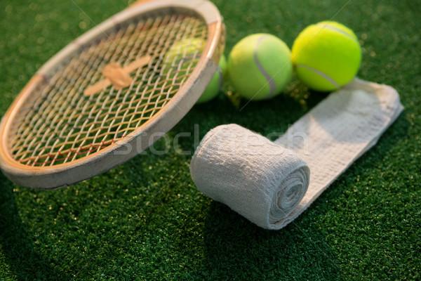 Közelkép szalvéta tenisz golyók ütő mező Stock fotó © wavebreak_media
