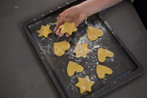 Hand star vorm cookie dienblad jongen Stockfoto © wavebreak_media