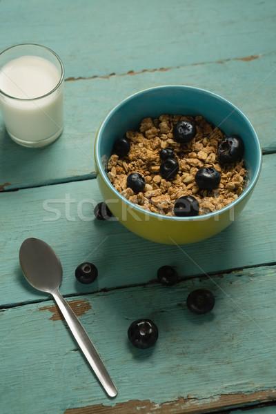 чаши злаки черника стекла молоко завтрак Сток-фото © wavebreak_media
