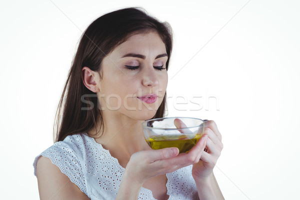 Mulher bonita chá medicinal branco mulher feliz saudável Foto stock © wavebreak_media