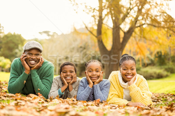 Stock photo: Portrait of a young smiling family lying in leaves