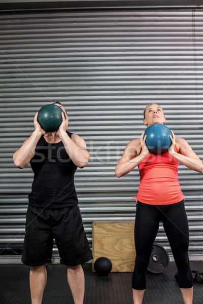 Pár dob labda levegő crossfit tornaterem Stock fotó © wavebreak_media