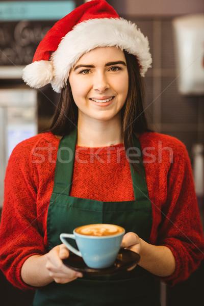 Aranyos pincérnő kávé vásárló kávéház üzlet Stock fotó © wavebreak_media