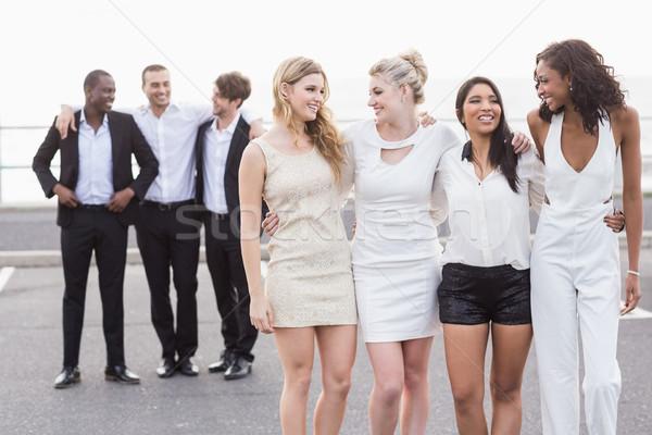 Jólöltözött emberek pózol bulizás nő boldog Stock fotó © wavebreak_media