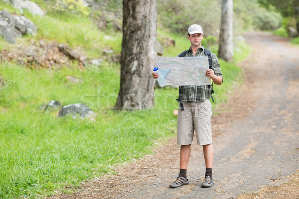 Young man reading map on footpath in forest Stock photo © wavebreak_media