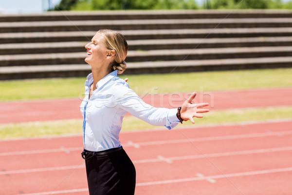 деловая женщина позируют победу возбужденный женщины спортсмена Сток-фото © wavebreak_media