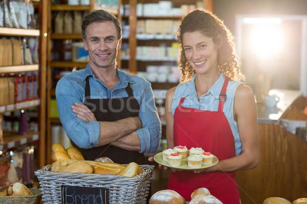 Portré mosolyog személyzet áll pékség pult Stock fotó © wavebreak_media